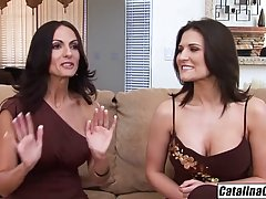 Two cock loving brunettes are taking turns giving blowjobs t...