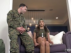 Latin brunette, Angelica Cruz is doing push- ups and having anal sex with her sergeant