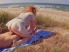 Big ass, red haired babe is fucking a random guy in the natu...