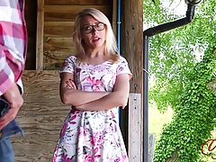 Petite blonde babe took off her floral dress and got down and dirty with a neighbor