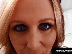 Blue- eyed, blonde milf with big boobs, Julia Ann sucks dicks just to get massive cumshots