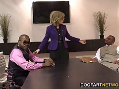 Mature blonde woman, Nina Hartley is always in the mood to have sex with black guys
