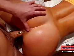 Hot, amateur babe with nice tits and a pierced nipple is rub...