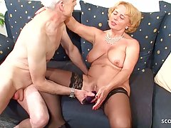 Slutty German granny has big tits, wet pussy and never says ...