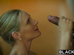Sexy blonde woman was in a hurry to put on erotic lingerie for her handsome lover