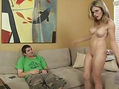 Blonde step mom is having a steamy sex affair with her horny step son, on the couch