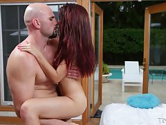 Red haired babe is happy every time her lover cums all over ...