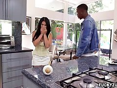Cindy Starfall is sucking a big, black dick after dinner and enjoying as much as her partner