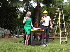 Seductive blonde housewife, Brandi Love invited two construction workers into her house to fuck her