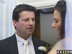 Simony is dressed up in a wedding dress and getting fucked instead of getting married