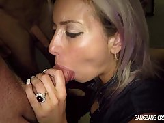 Slutty bitch, Alana Luv is having a hot shower, while her handsome partner is watching